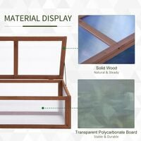 Outsunny On-Ground Wood Frame Greenhouse Grow Box Plants Outdoor w/ Lid