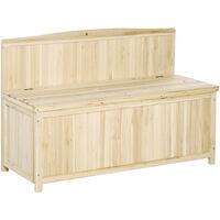 Outsunny Wooden Garden Storage Bench Seat Deck Outdoor Patio Furniture