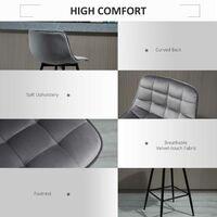 HOMCOM Set of 2 Velvet-Feel Bar Stools Kitchen Chairs w/ Metal Frame Grey