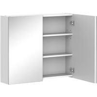 HOMCOM On-Wall Double Mirror Bathroom Storage Cabinet Cupboard w/ Shelf