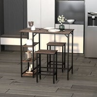 HOMCOM 3 Pcs Industrial-Style Dining Set w/ 2 Stools Table & Shelves Compact Furniture