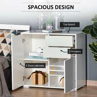 HOMCOM Modern Freestanding Push-OpenCabinet w/ 2 Drawers Cabinet Storage White