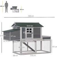 PawHut 160cm Wooden Backyard Chicken Coop w/ Nesting Box Run Area House