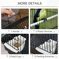 PawHut 47x39cm Metal Bird Cage w/ Plastic Perch Swing Handle Small Pet