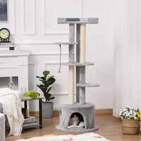 PawHut Cat Tree Kitten Tower Multi-level Activity Centre w/ Scratching Post Grey