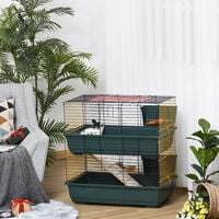 PawHut Two-Tier Small Animal Cage Habitat w/ Accessories Pet Play House