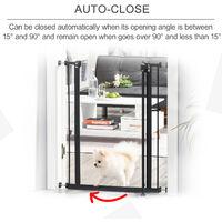 PawHut 74-84cm Adjustable Metal Pet Gate Safety Barrier w/ Auto-Close Door Black