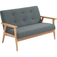 HOMCOM Retro Minimal Sofa w/ Padded Linen Seat Wood Frame Furniture 2 Seater