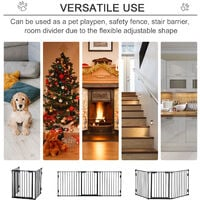 PawHut 3-Panel Metal Pet Safety Gate Fence Playpen Guard Fireplace Home