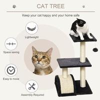 PawHut Cat Tree Activity Centre w/ Scratching Posts Sisal Arc Hanging Ball Grey