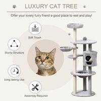 PawHut Cat Tree Activity Centre w/ Scratching Post Sisal Hanging Ball Hammock