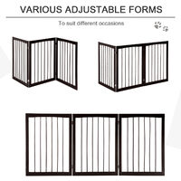 PawHut 3 Panel Pet Gate Wooden Foldable Free Standing Safety Gate