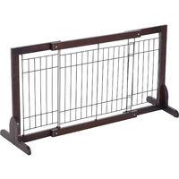 PawHut Wooden Flexible Pet Fence Free Standing Adjustable Secure Gate Wide 58-100 (cm)