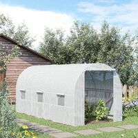 Outsunny Large Walk-in Greenhouse Poly Tunnel White (4.5L x 2W x 2H (m))