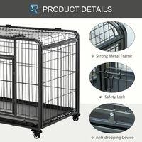 PawHut Dog Crate Foldable Puppy Kennel Cage Pet Playpen w/ Doors 109.5x71cm