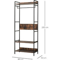 HOMCOM Industrial-Style Coat Rack & Shoe Shelf Unit Hallway Organiser w/ Rod
