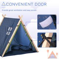 HOMCOM Kids Indoor Outdoor Teepee Play Tent Playhouse w/ Mat Pillow Carry Bag
