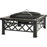 Outsunny 76cm Square Garden Fire Pit Square Table w/ Poker Mesh Cover Log Grate