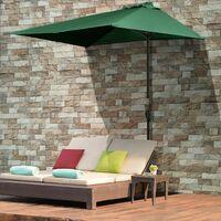 Outsunny 3m Garden Half Round Umbrella Balcony Parasol Shade Protection Green