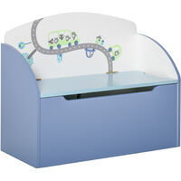 HOMCOM 58x28cm Fun Kids Storage Chest Box Bench Safety Hinge Bedroom Toys Blue