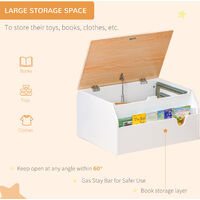 HOMCOM 58x43cm Kids Storage Chest w/ Book Slot Safety Hinge Toys Bedroom Bench