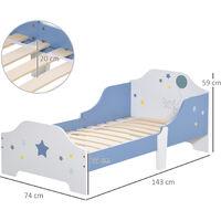 HOMCOM Kids Star Balloon Single Bed Frame w/ Guardrails Slats Bedroom Furniture