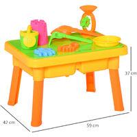 HOMCOM 16 Pcs Sand & Water Play Table Beach Creative Toy Set Outdoor Activity