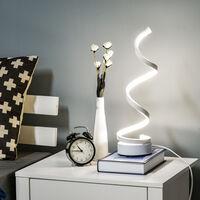 HOMCOM Spiral LED Table Lamp w/ Metal Base Home Office Unique Light White