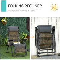 Outsunny Zero Gravity Folding Chair Metal Frame w/ Cup Phone Holder Deckchair