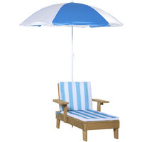 Outsunny Kids Wooden Lounge Chair & Parasol Umbrella Set Outdoor Set Striped Blue