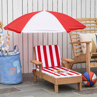 Outsunny Kids Wooden Lounge Chair & Parasol Umbrella Set Outdoor Set Striped Red