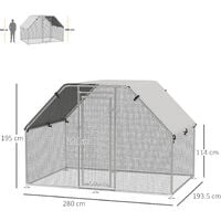 Pawhut Galvanized Metal Chicken Cage Coop Outdoor Garden w/ Water-Resistant Roof
