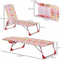 Outsunny Kids Single Folding Lounger Sun Chair Adjustable Outdoor Seat Pink