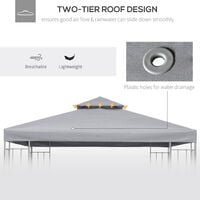 Outsunny 3(m) 2 Tier Garden Gazebo Top Cover Replacement Canopy Roof Light Grey