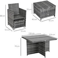Outsunny Rattan Dining Set Garden Furniture Cube Table Chair Stool Cushion Seat
