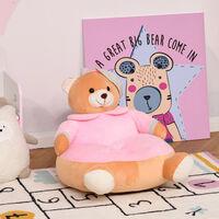 HOMCOM Kids Sink-In Teddy Sofa Chair Floor Seat w/ Armrest Cute & Cuddly Toy