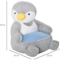 HOMCOM Kids Large Penguin Chair Animal Sofa Seat Cute Bedroom w/ Armrest
