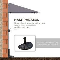 Outsunny Balcony Half Parasol Semi Round Umbrella Patio Crank Handle (2.3m, Grey)- NO BASE INCLUDED