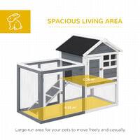 Pawhut 122cm Wooden Chicken Coop Rabbit Hutch Cage Pet House w/ Ladder Run