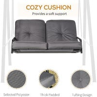 Outsunny 2 Seater Swing Chair Hammock Bench Cushioned Seat Outdoor Grey