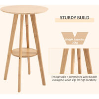 HOMCOM Two-Tier Wood Frame High Dining Cocktail Bar Table Stylish Home Dining