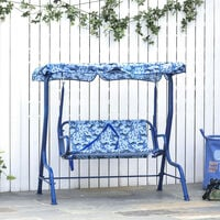 Outsunny Kids 2-Seat Garden Swing Chair Toddler Outdoor Lounger w/ Awning Blue