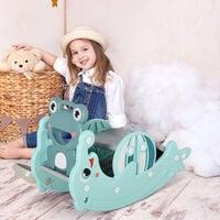 HOMCOM 3-in-1 Baby Rocking Horse Portable Slide Basketball Hoop 3-5 Yrs