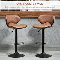 HOMCOM Set Of 2 Faux Leather Bar Stools Retro Vintage Seat Adjustable Height Brown