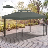 Outsunny 3x4m Gazebo Replacement Roof Canopy 2 Tier Top UV Cover Patio Deep Grey