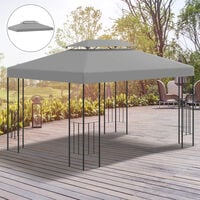 Outsunny 3x4m Gazebo Replacement Roof Canopy 2 Tier Top UV Cover Patio Light Grey