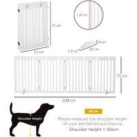 PawHut 204cm Four-Panel Wooden Pet Gate Foldable Fence Freestanding Barrier