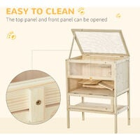 PawHut 3 Tiers Wooden Hamster Cage House 60L×40W×80H cm