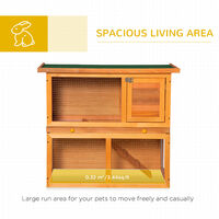 PawHut 2-Tier Double Decker Wooden Rabbit Pet Hutch with Sliding Tray Opening Top