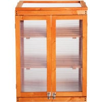 Outsunny 3-tier Wooden Cold Frame Greenhouse Flower Storage Shelves (58L x 44W x 78H (cm))